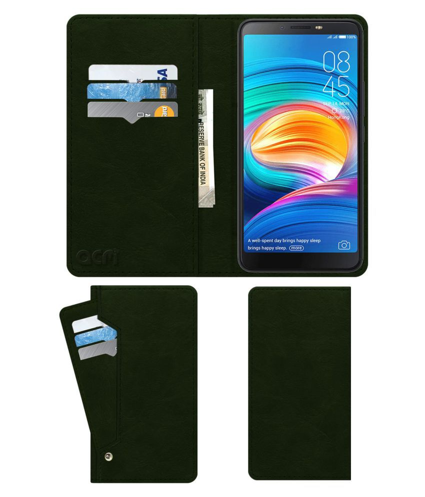 I Click Flip Cover by ACM - Green Wallet Case,Can store 6 Card & Cash,Teal Green