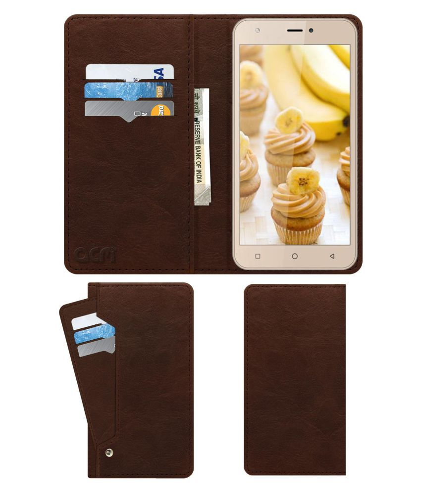 Intex Aqua 5.5 Vr Flip Cover by ACM - Brown Wallet Case,Can store 6 Card & Cash,Rich Brown