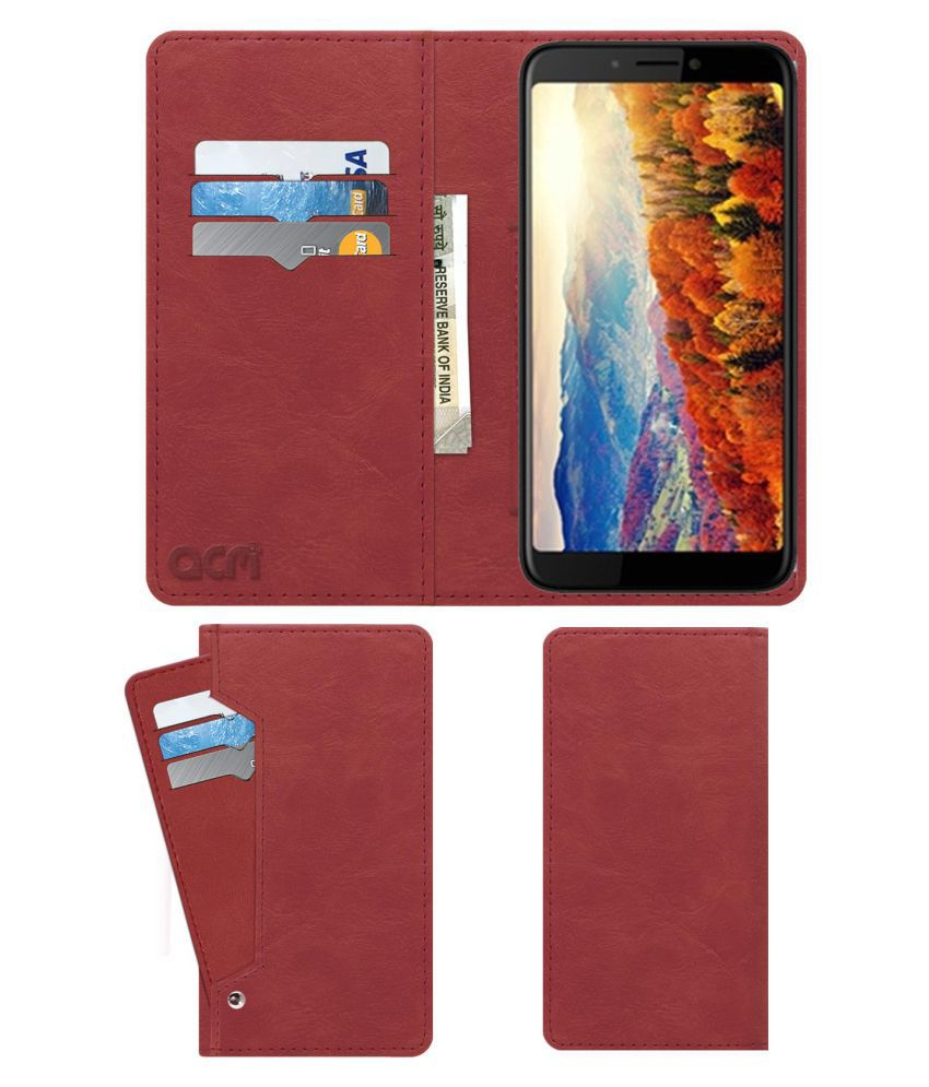 Micromax Canvas 2 2018 Flip Cover by ACM - Pink Wallet Case,Can store 6 Card & Cash,Peach Pink