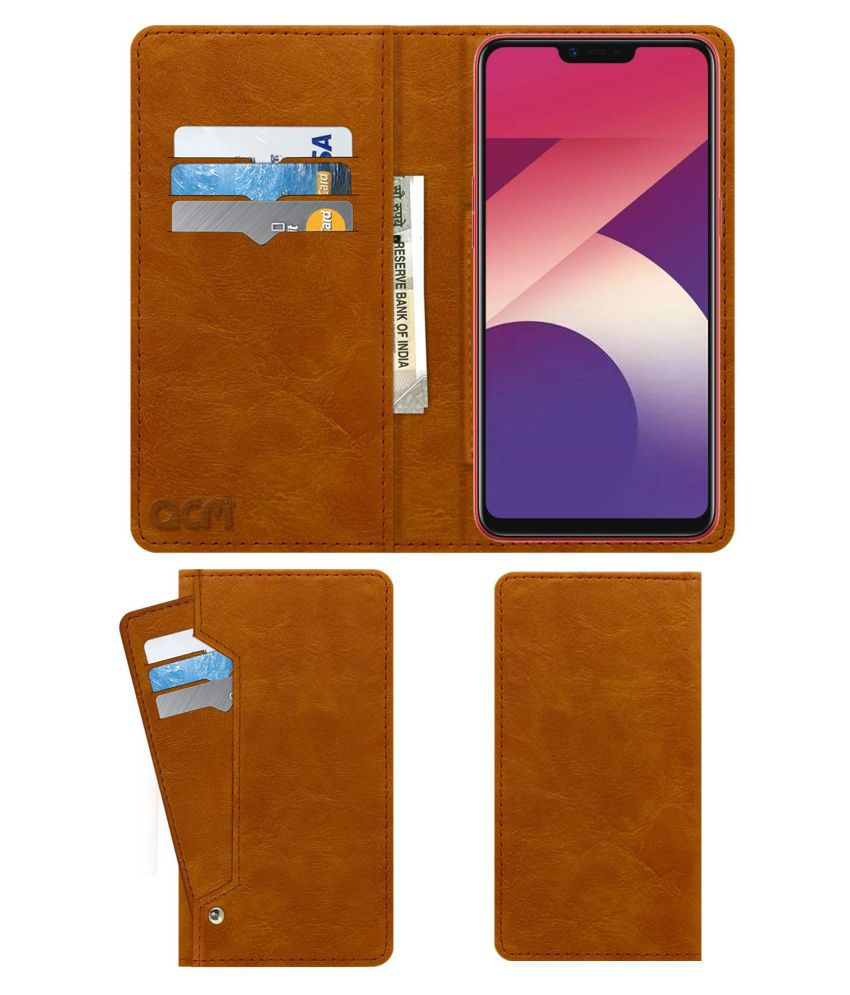 Oppo A3s Flip Cover by ACM - Golden Wallet Case,Can store 6 Card &  Cash,Classic Golden