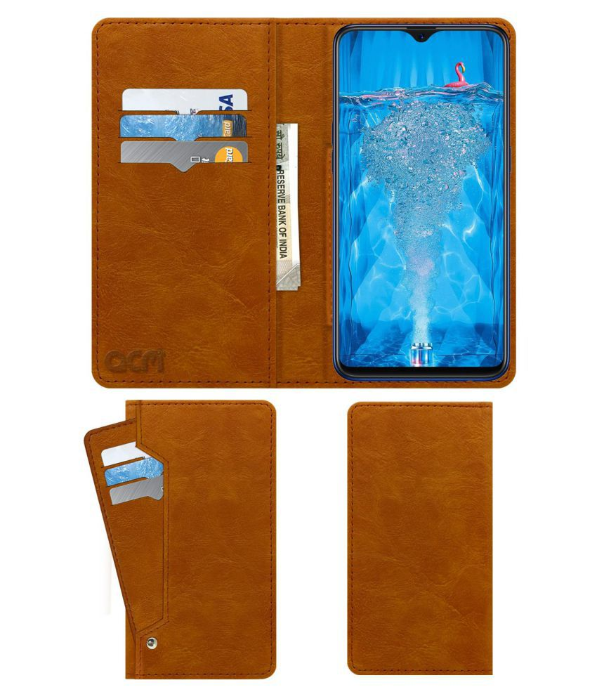 Oppo F9 Pro Flip Cover by ACM - Golden Wallet Case,Can store 6 Card &  Cash,Classic Golden