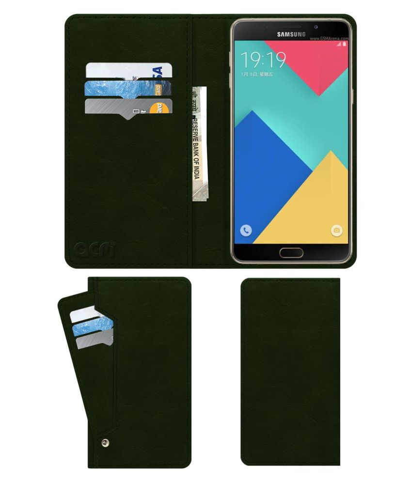 Samsung Galaxy A9 Flip Cover by ACM - Green Wallet Case,Can store 6 Card & Cash,Teal Green