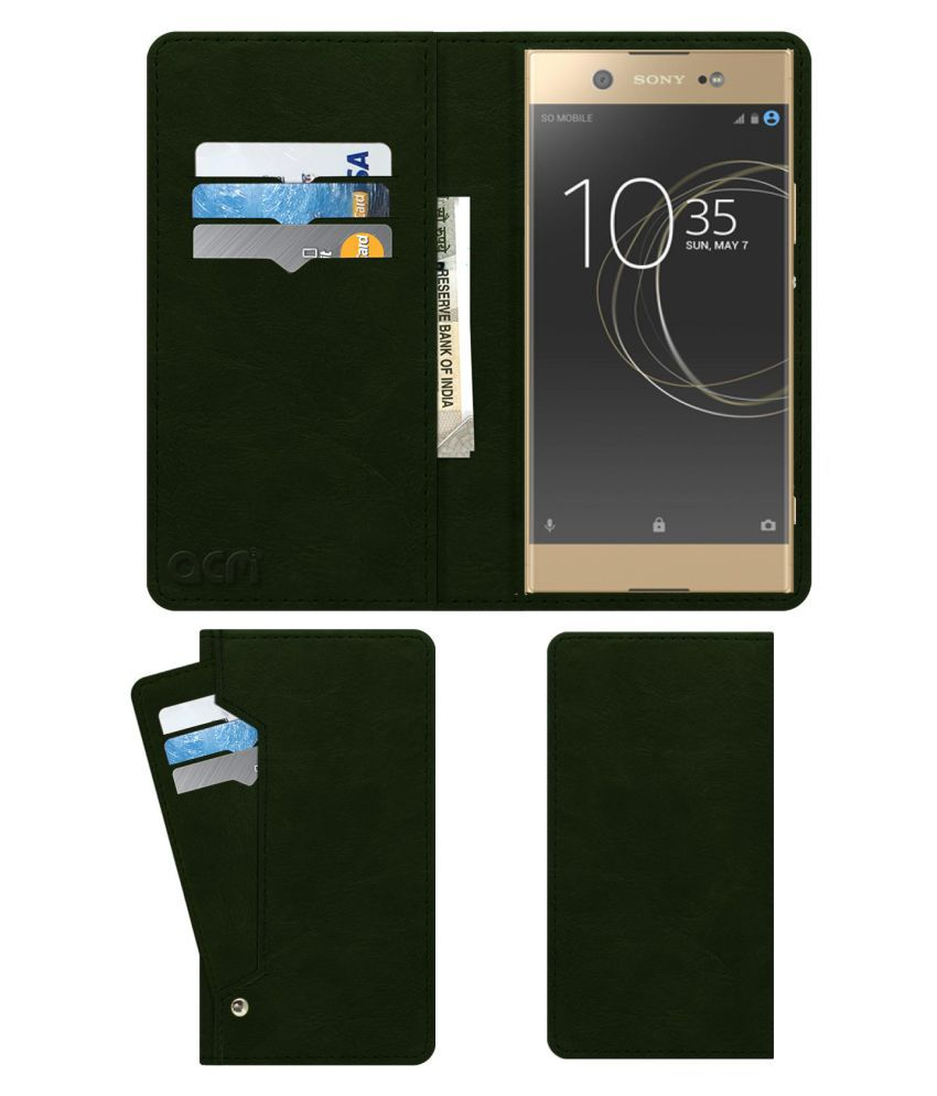 Sony Xperia Xa1 Ultra Dual Sim Flip Cover by ACM - Green Wallet Case,Can store 6 Card & Cash,Teal Green
