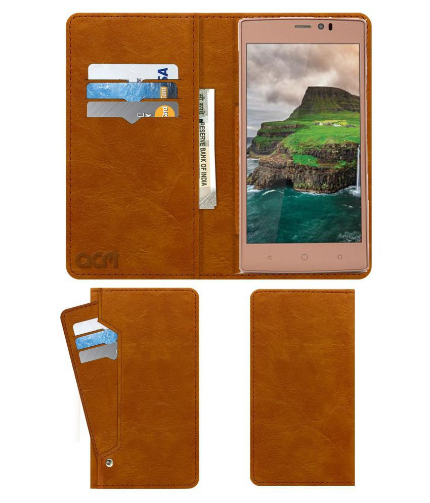 iBall Andi 5.5u F2f Flip Cover by ACM - Golden Wallet Case,Can store 6 Card & Cash,Classic Golden