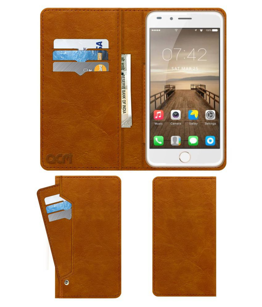 GreenBerry Z8 Flip Cover by ACM - Golden Wallet Case,Can store 6 Card & Cash,Classic Golden