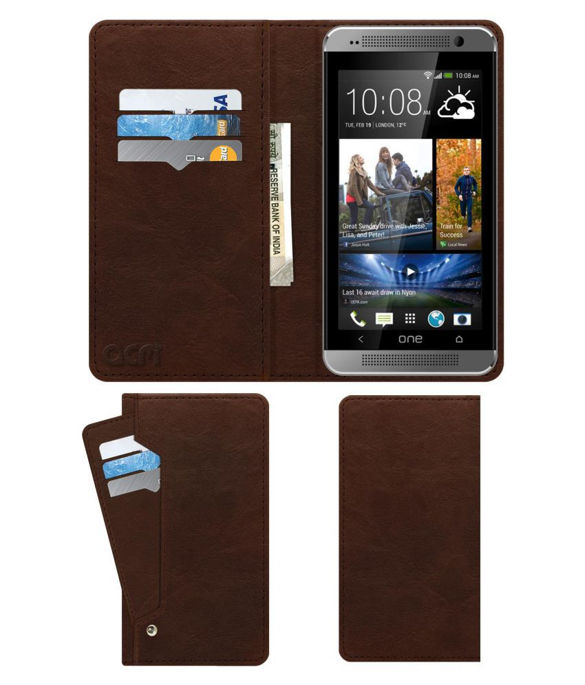 Hpl Aone Flip Cover by ACM - Brown Wallet Case,Can store 6 Card & Cash,Rich Brown