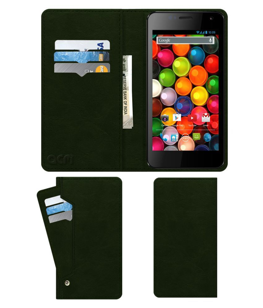 Karbonn Titanium S4 Flip Cover by ACM - Green Wallet Case,Can store 6 Card & Cash,Teal Green