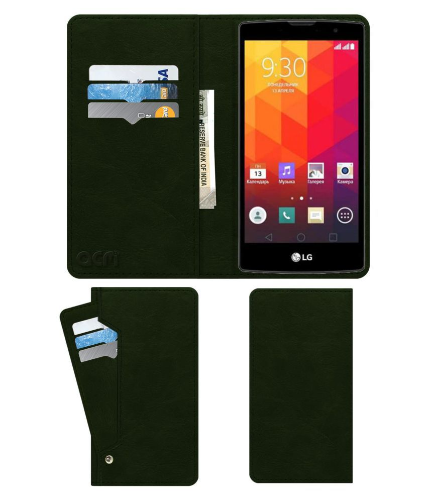 Lg Magna Flip Cover by ACM - Green Wallet Case,Can store 6 Card & Cash,Teal Green