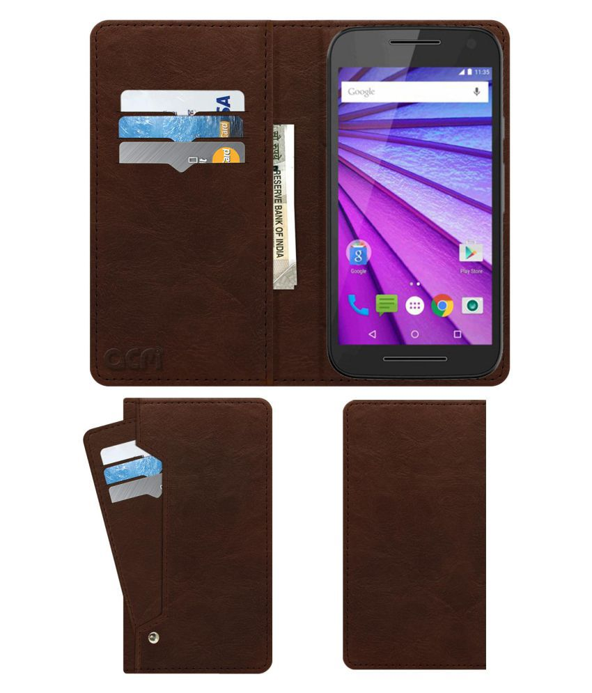 Moto G3 Flip Cover by ACM - Brown Wallet Case,Can store 6 Card & Cash,Rich Brown