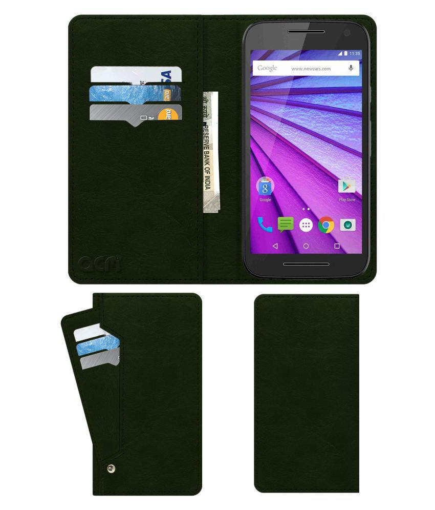 Motorola Moto G Turbo Edition Flip Cover by ACM - Green Wallet Case,Can store 6 Card & Cash,Teal Green