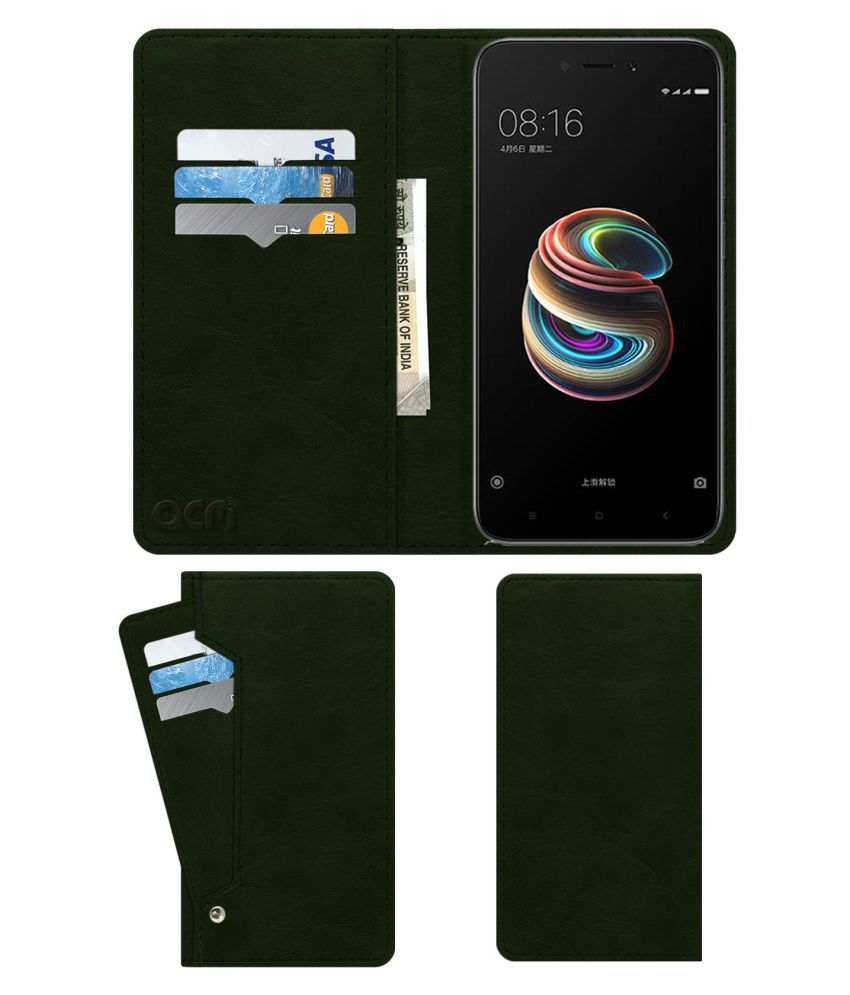 Xiaomi Redmi 5A Flip Cover by ACM - Green Wallet Case,Can store 6 Card & Cash,Teal Green