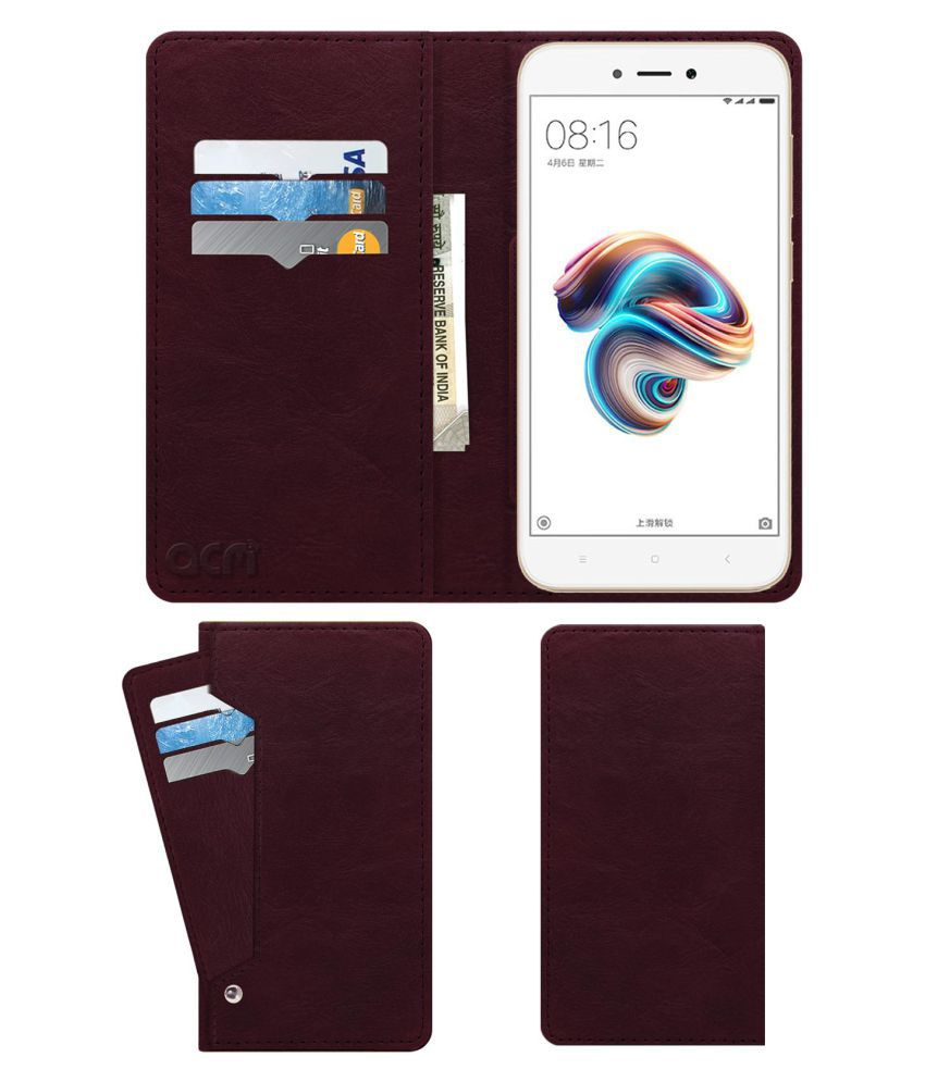 Xiaomi Redmi 5A Flip Cover by ACM - Red Wallet Case,Can store 6 Card & Cash,Burgundy Red