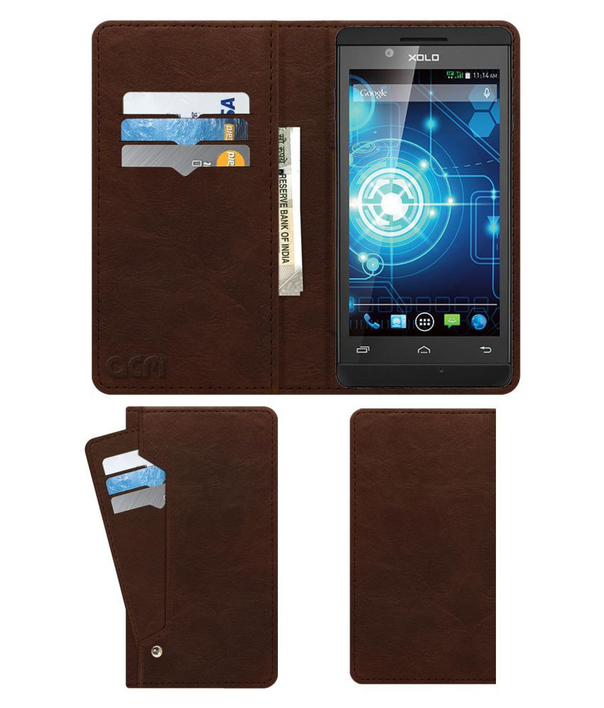 Xolo Q710s Flip Cover by ACM - Brown Wallet Case,Can store 6 Card & Cash,Rich Brown
