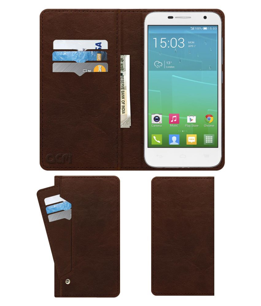 Alcatel Idol Mini Flip Cover by ACM - Brown Wallet Case,Can store 6 Card & Cash,Rich Brown