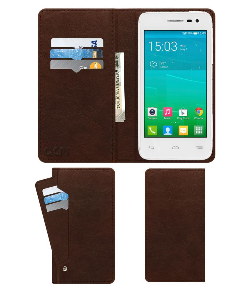 Alcatel POP S3 Flip Cover by ACM - Brown Wallet Case,Can store 6 Card & Cash,Rich Brown