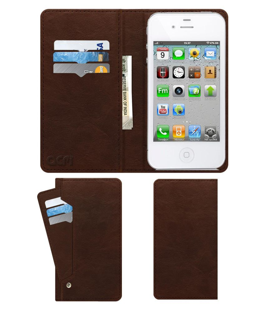 low priced 3d060 b9e95 Apple iPhone 4S Flip Cover by ACM - Brown Wallet Case,Can store 6 Card &  Cash,Rich Brown