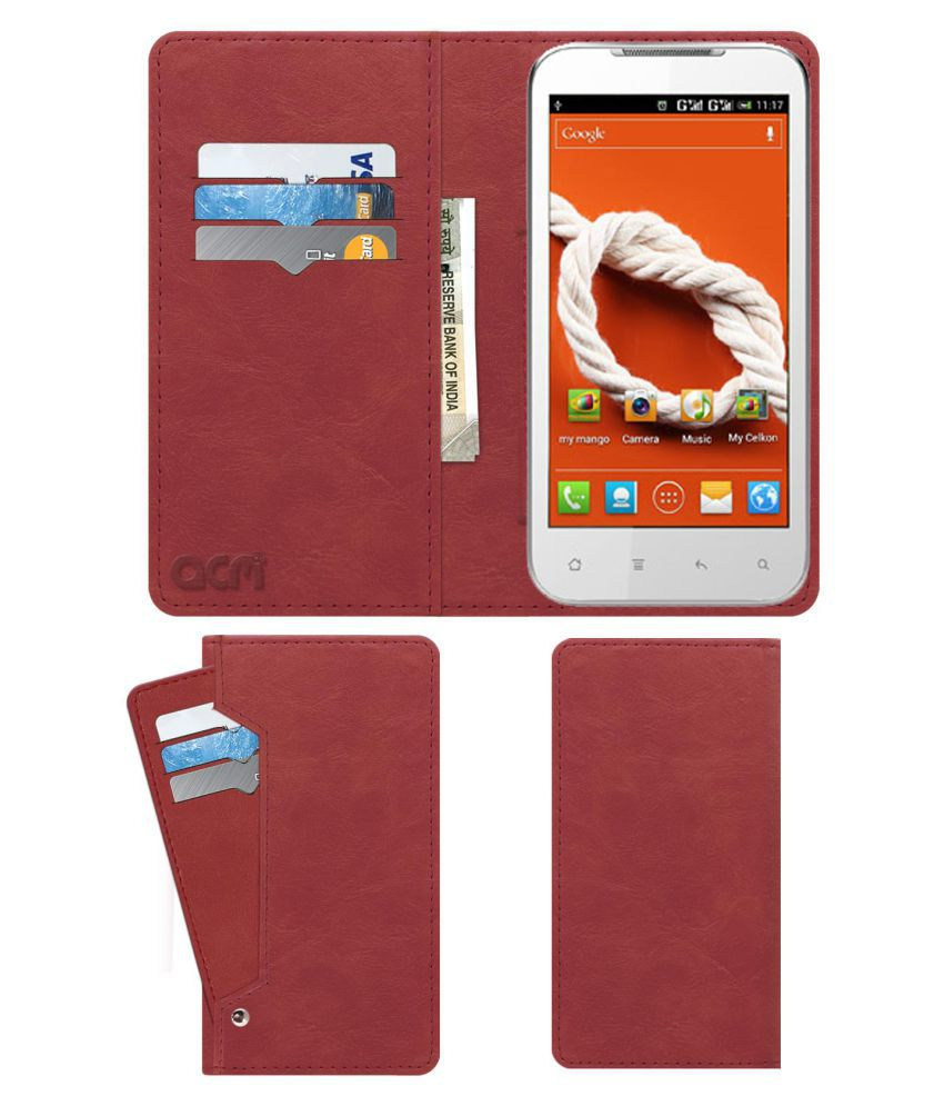 Celkon A22 Flip Cover by ACM - Pink Wallet Case,Can store 6 Card & Cash,Peach Pink