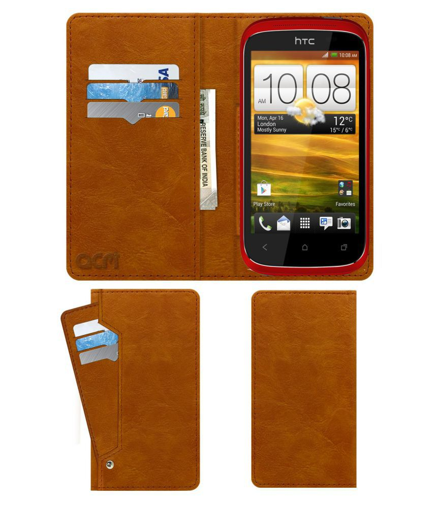 sports shoes fb066 0ce04 HTC Desire C Flip Cover by ACM - Golden Wallet Case,Can store 6 Card &  Cash,Classic Golden