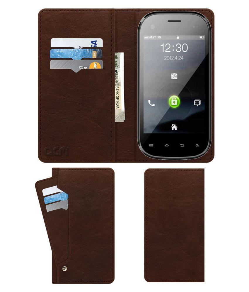 Lava Iris N350 Flip Cover by ACM - Brown Wallet Case,Can store 6 Card & Cash,Rich Brown