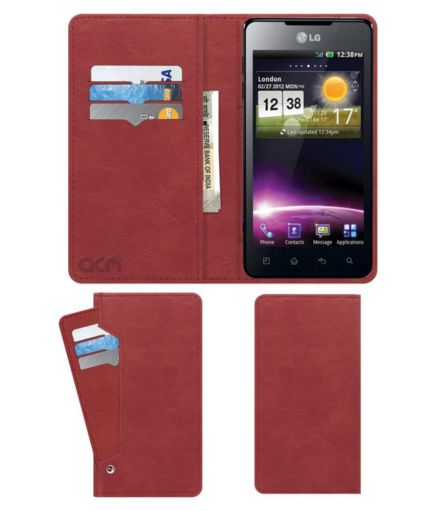 Lg Optimus 3D Flip Cover by ACM - Pink Wallet Case,Can store 6 Card & Cash,Peach Pink
