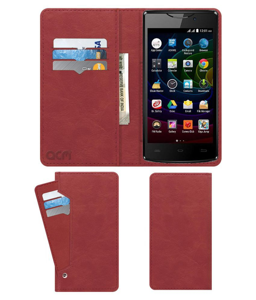Micromax Bolt D320 Flip Cover by ACM - Pink Wallet Case,Can store 6 Card & Cash,Peach Pink