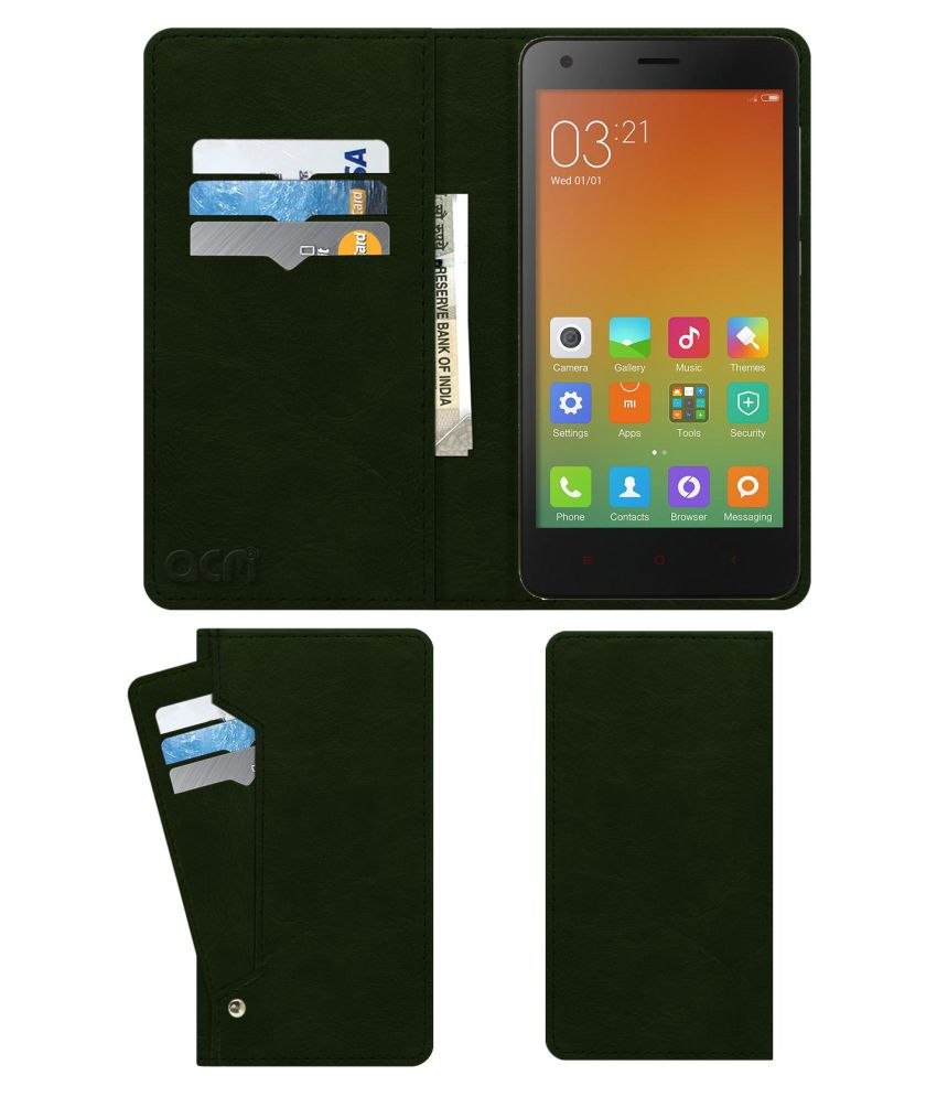 Xiaomi Redmi 2 Flip Cover by ACM - Green Wallet Case,Can store 6 Card & Cash,Teal Green