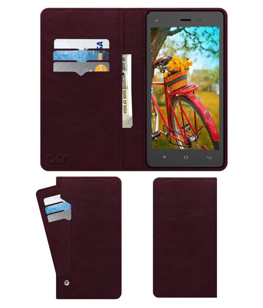 ZIOX ASTRA ZING Flip Cover by ACM - Red Wallet Case,Can store 6 Card & Cash,Burgundy Red