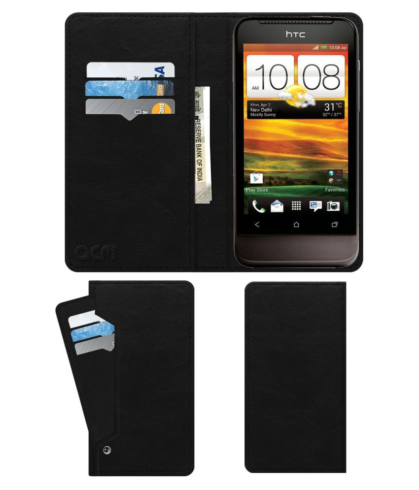 HTC One V Flip Cover by ACM - Black Wallet Case,Can store 6 Card & Cash,Royal Black