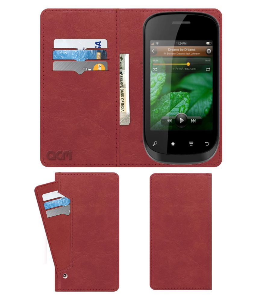 Lava Iris N320 Flip Cover by ACM - Pink Wallet Case,Can store 6 Card & Cash,Peach Pink