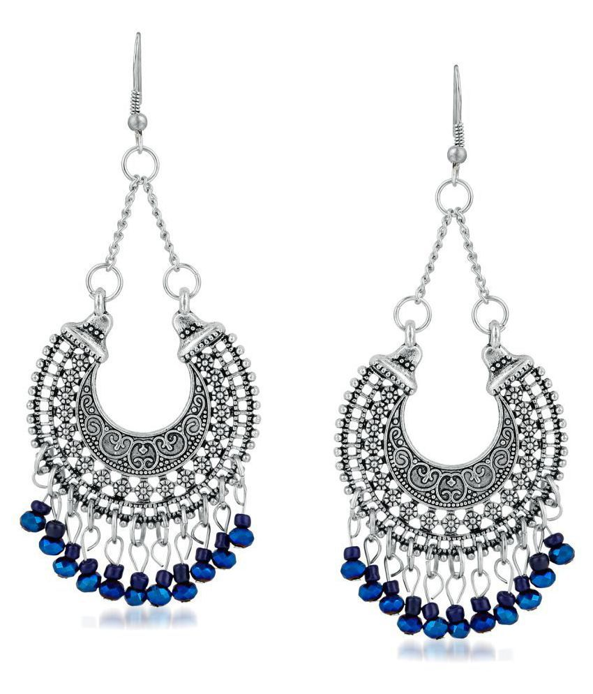 aa3eb42d2 ... Apara German Silver plating Oxidised Blue Beads hanging Earring for  Girls ...