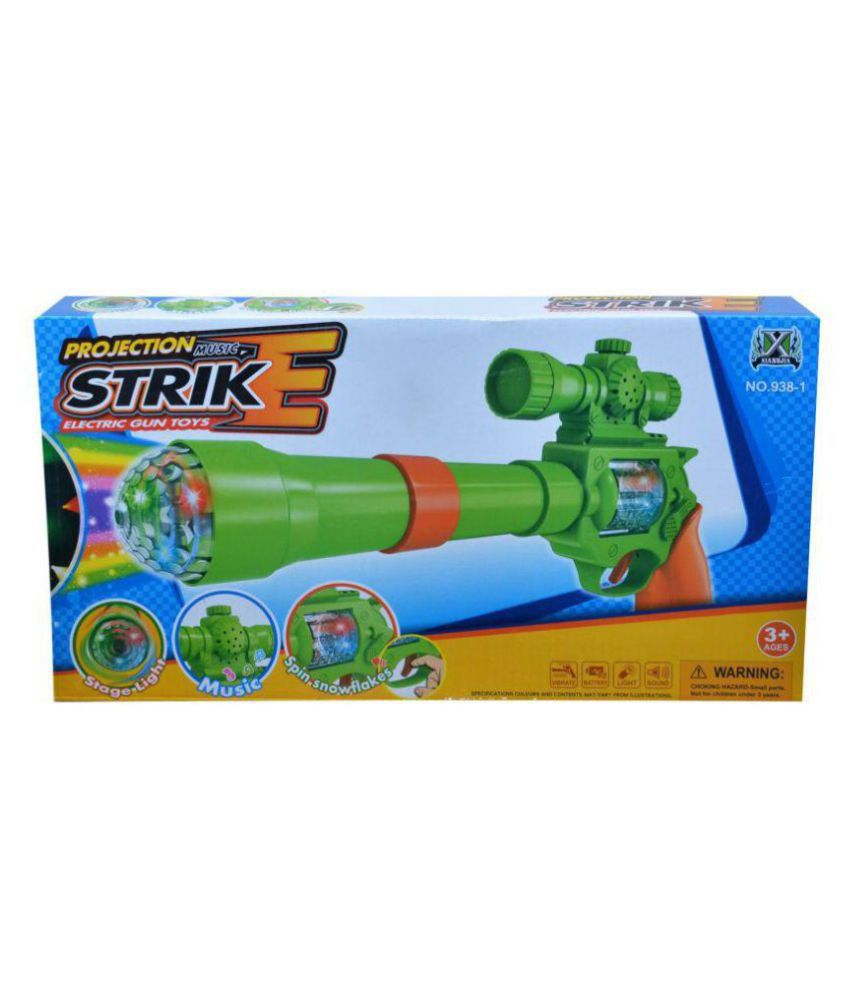 Latest Strike Gun Toy with 3D Projection Lights and Music, 12 inch  Multicolour