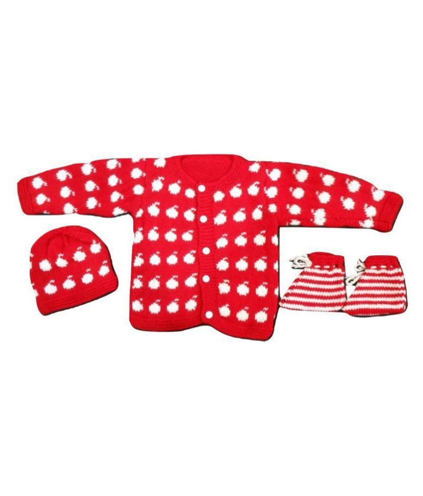 Red Baby Sweater With Cap And Socks For Infants 0 6 Months Buy Red