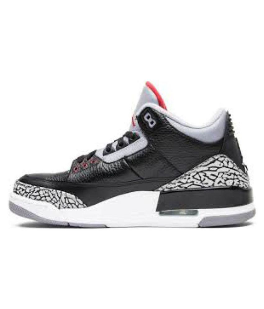 super popular 00896 42e09 Nike Jordan Retro 3 cement Black Basketball Shoes - Buy Nike Jordan Retro 3  cement Black Basketball Shoes Online at Best Prices in India on Snapdeal