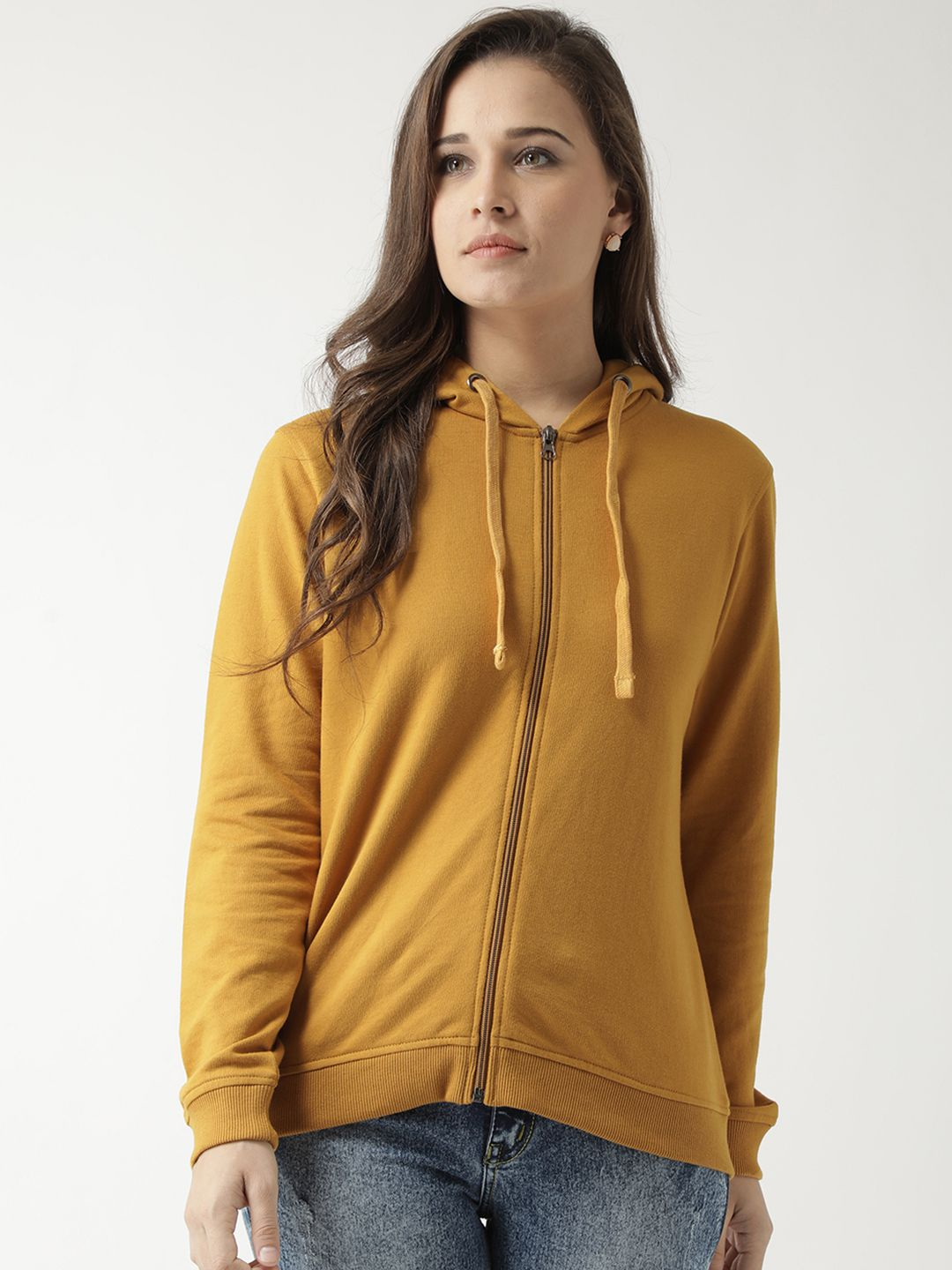 Club York Cotton Yellow Hooded Sweatshirt