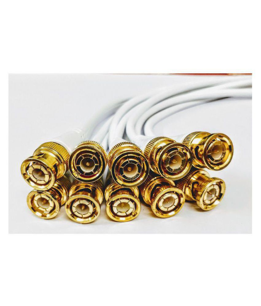 Zeffcon - BNC Connector with Copper Wire Moulded - 10PCS - 18CM - BNC Golden Male Plug Cable (White)