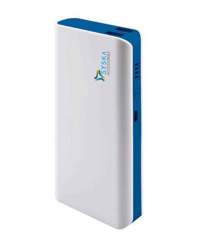 Syska POWER BANK-X110-WHITE-BLUE 11000 -mAh Li-Ion Power Bank White