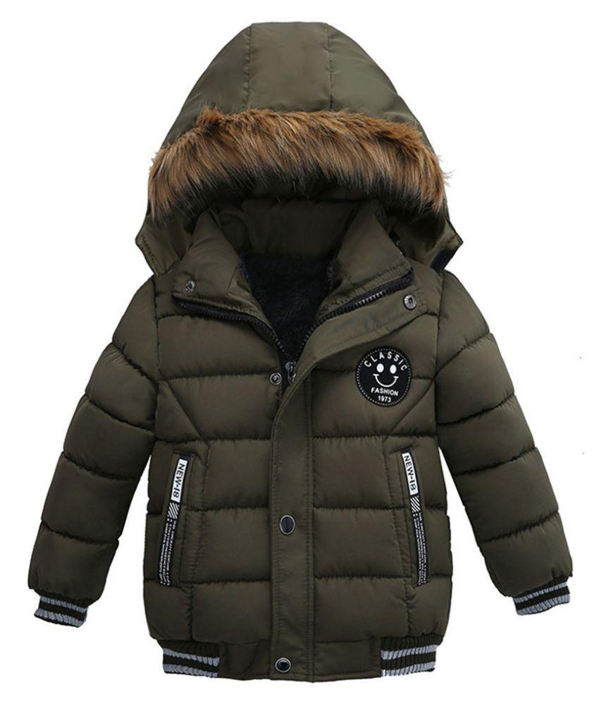 Fashion Kids Faux Fur Hooded Winter Coat Children Boys Girls Long Sleeve Thick Warm Outwear Down Jackets