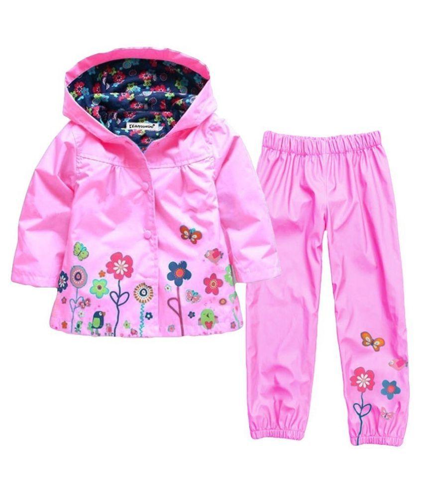 Girls Clothes Set 2017 Autumn Winter Kids Clothes Girls Sets Raincoat Jackets+Pant Girls Sport Suit Children Clothing