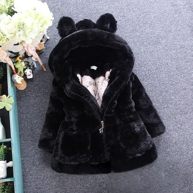Winter Coat Girls Faux Fur Jacket Children Clothing Thick Big Ears Coat Child Jackets