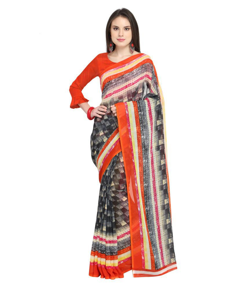 SIDHIDATA TEXTILE Red and Grey Georgette Saree