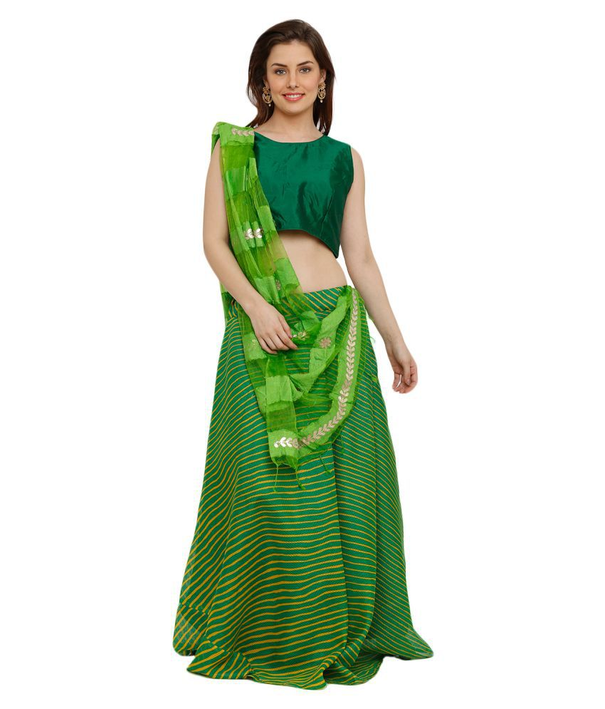 Salwar Studio Green Cotton Circular Stitched Lehenga
