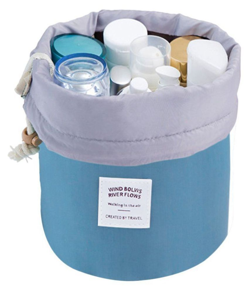 Kanha Blue Bucket Barrel Round Shaped Cosmetic Travel Pouch