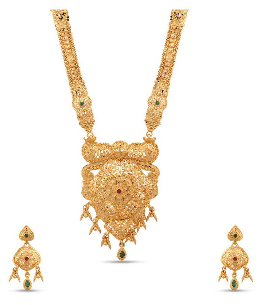 Maalyaa Brass Golden Collar Traditional 22kt Gold Plated Necklaces Set