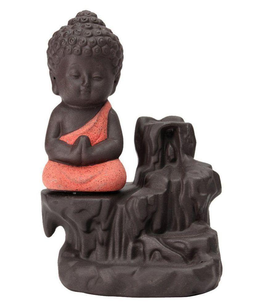 SHRINO Orange Resin Monk Buddha Smoke Backflow - Pack of 1