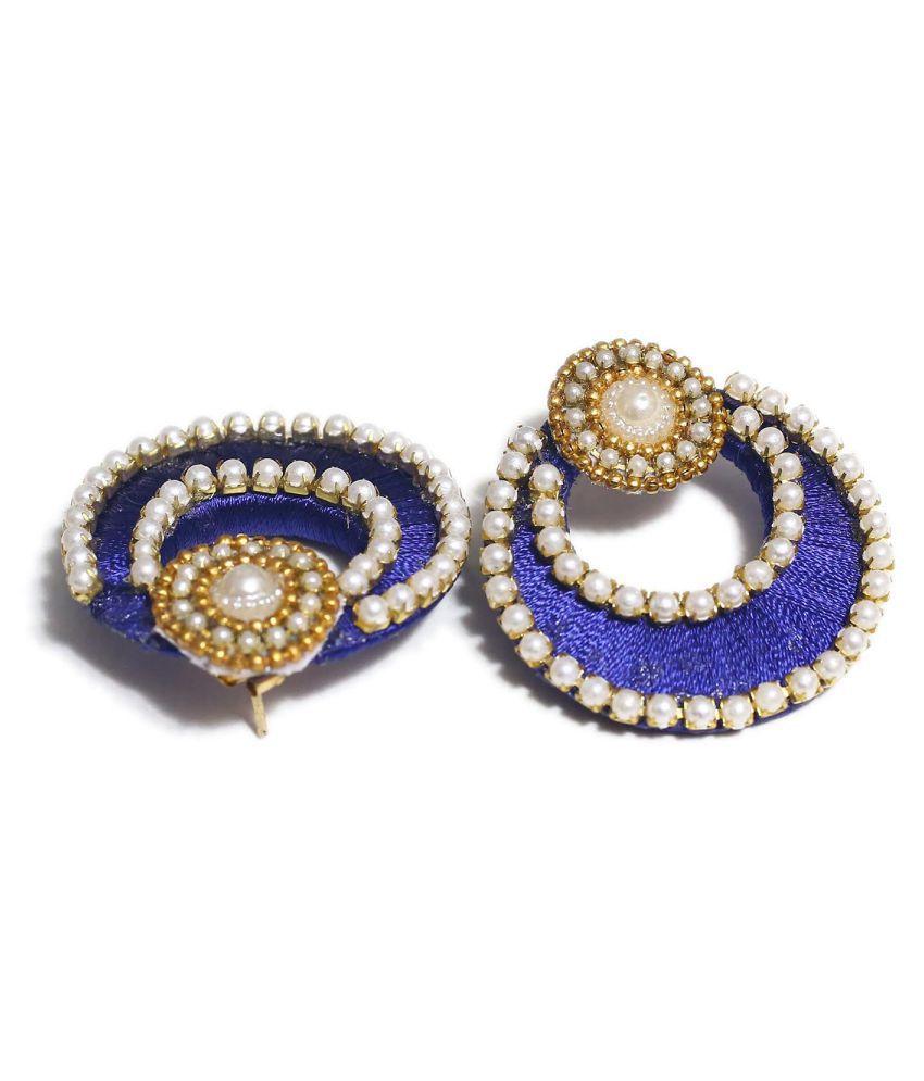 STYlishU  SilkThread  Blue  Chand Hoops Earrings