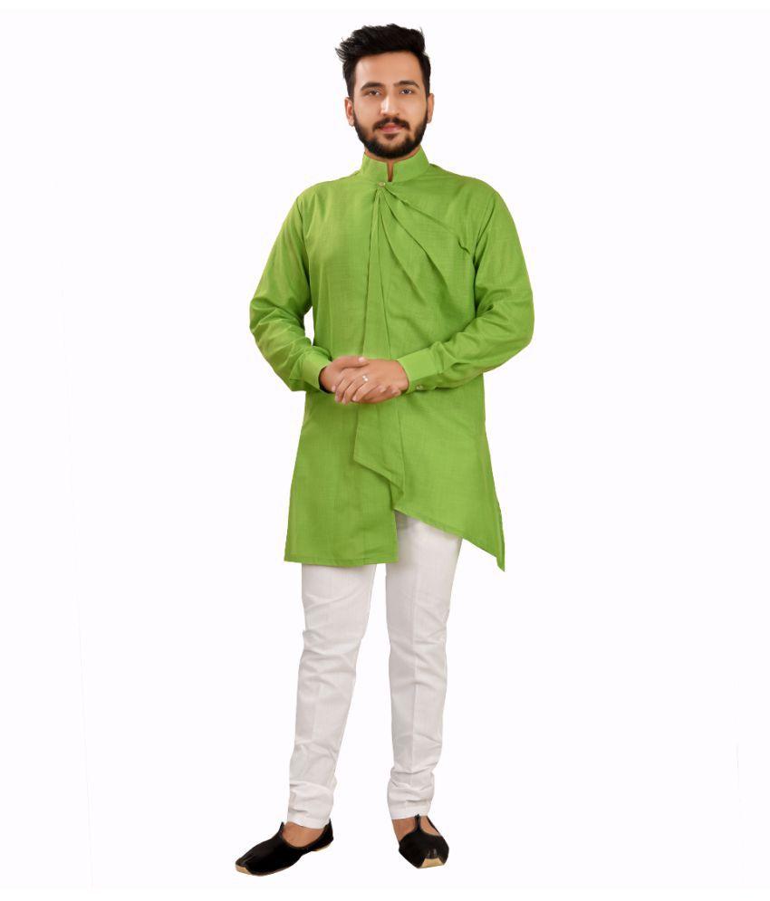 SG LEEMAN Dark Green Cotton Kurta Pyjama Set Pack of 2