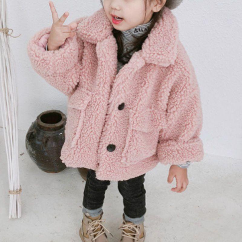 Autumn Winter Children's Fashion Lamb Velvet Coats Girls Lapel Collar Warm Jackets Outwear Tops