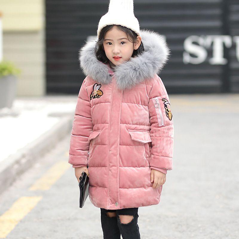 Children Girls Boys Winter Thickening Warm Down Jackets Kids Teenage Long Fur Hooded Outerwear Coats 3-10 Years