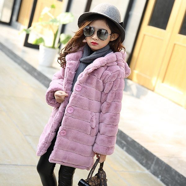 Jackets For Girls Autumn Winter Children Fur Outerwear Girls Cardigan Coat Kids Clothes Casual Long Jacket Girl Coats