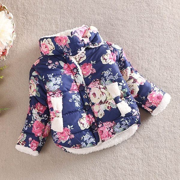 Vogue Bbay Kids Girls Winter Cotton Thick Floral Bow Coat Jackets Outerwear 2-6Y